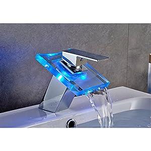 Auralum® Top Design LED RGB grifo de Cuenca Grifos de los lavabos 2años garantía (asa de cristal), Blanco