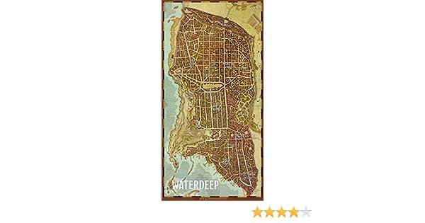"""D/&D 72790 Waterdeep Vinyl Game Mat 20/""""x40/"""" Gale Force Nine City Map"""