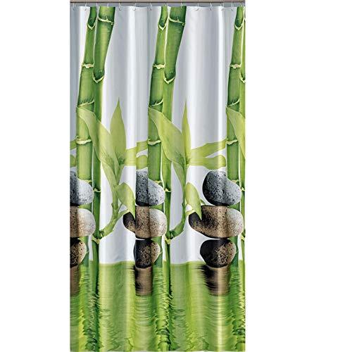 """EDLER Textil Duschvorhang 120 x 200 cm \""""Bambus mit Stein\"""" Grün Weiß inkl.Ringe"""