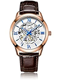 Rotary Men's Automatic Watch with Silver Dial Analogue Display and Brown Leather Strap GS00653/21