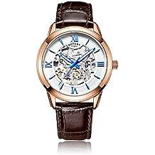 Rotary - Reloj automático para hombre, correa de piel, color marrón