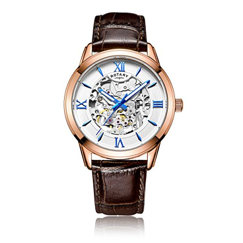 Rotary-Mens-Automatic-Watch-with-Silver-Dial-Analogue-Display-and-Brown-Leather-Strap-GS0065321