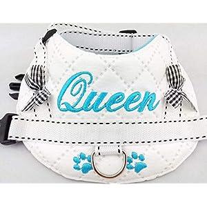 Hundegeschirr S M L XL XXL Brustgeschirr mit Wunsch Namen bestickt Kunstleder weiß blau für kleine, mittlere und große…