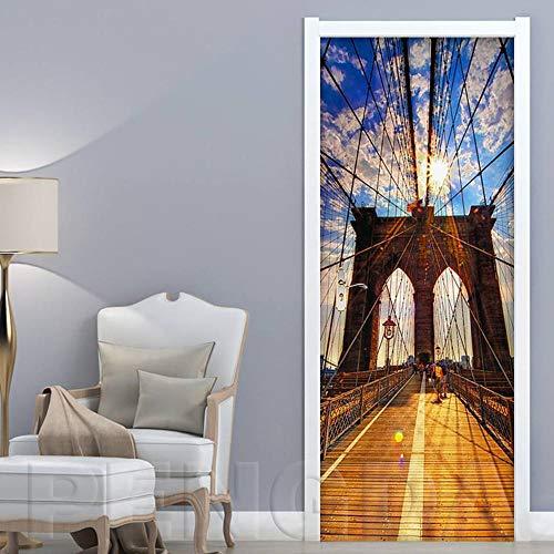 3D türaufkleber bad - Selbstklebende Home Art Dekoration Hängebrücke New York City Landschaft PVC Poster 3D Tür Aufkleber Druck Wasserdicht Kunstwerk - DIY Druck Vinyl Abnehmbare -
