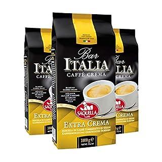 Saquella Caffe Saquella Espresso Bar Italia Extra Crema Bohnen, 3er Pack (3 x 1 kg)