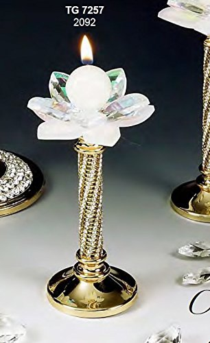Oggettistica per bomboniere candeliere portacandela piccolo fiore cristallo swarovski e acciaio dorato made in italy