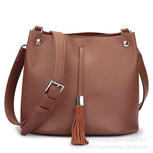 JUND Damen PU Leder Classic Einfarbig Mode Lässig Beutel Elegant Quaste Umhängetasche Vintage Messenger Bag