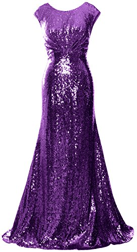 MACloth Elegant Sequin Long Bridesmaid Dress Cap Sleeve Formal Party Prom Gown purple