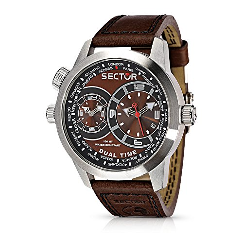 Sector Oversize Men's Watch with Dual Time, Brown Dial and Brown Strap - R3251102055