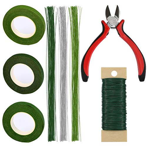 TIMESETL Flower Making Wire, Floral Green Tape,22/26 Gauge Floral Wire and Wire Cutter Kit