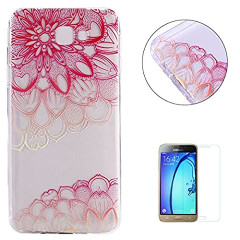 Samsung Galaxy J3/J310 Case Clear,[with Free Screen Protector] KaseHom Premium Ultra Slim Silicone TPU Gel Cover Beautyful Multicolor Unique Oil Painting Design Scratch Resistant Bumper Shock Absorption Protective Rubber Transparent Skin Shell for Samsung Galaxy J3/J310 - Pink
