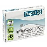 Rapid Agrafes en fil souple Standard N°23, Longueur 10 mm, 1000 Agrafes, Agrafe jusqu'à 70 feuilles, Fil galvanisé, 24869300