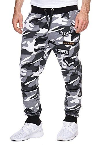 Cabin Herren Trainingshose Armee Army Camouflage Jogginghose Damen Sporthose Fitness Grau S
