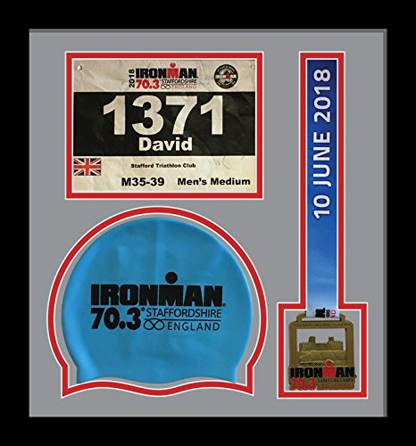Kwik Picture Framing Ltd Ironman Staffordshire 70.3 Triathlon Marathon, Running Medal, Swimming caps Display Frame, Grey Mount - Black Frame