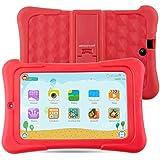 Alldaymall Tablet Infantil de 7 pulgadas 16GB IPS FHD1920x1200 (64-Bit Quad Core, Android 5.1, Wi-Fi, Bluetooth) Rojo con funda de silicona 2017 Nuevo