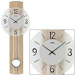Idea Regalo - AMS 7274quarzo orologio da parete con pendolo legno pannello in vetro minerale