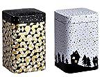 Eigenart TGW7070109 2er Set Teedosen Golden Winter, 70 x 70 x 109mm, für 100g, Mehrfarbig