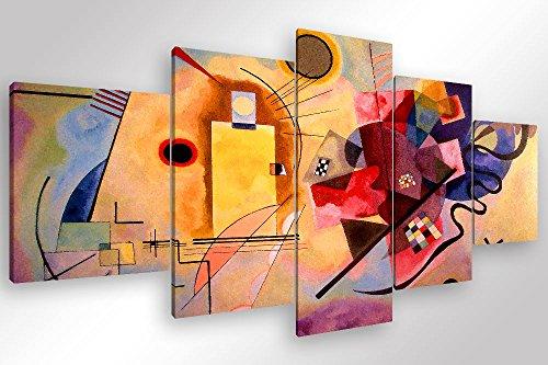 Degona quadro moderno kandinsky yellow red blue - 5 pz. cm 200x90 stampa su tela canvas arredamento arte arredo astratto xxl
