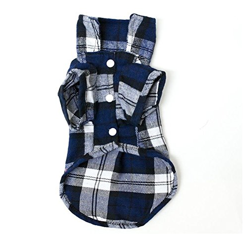 Generic Pet Dog Blue Plaid Pattern T-Shirt Lapel Coat Jacket Clothes Apparel Tops--M
