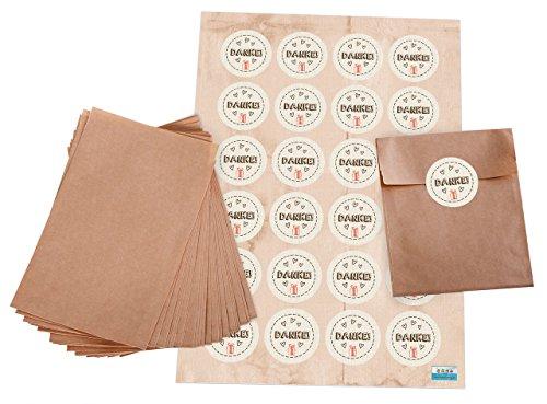 Geschenktüten-Set: 24 braune kleine Papier-Flachbeutel Papiertüten (10,5 x 15 + 2 cm Lasche) und 24 Sticker (4 cm) DANKE in beige, braun, rot mit 3 Herzen und Geschenk-Verpackung give-aways (Geburtstag, Verpackung, Papier)