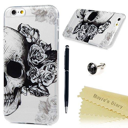iPhone 6 Plus / 6s Plus Funda Silicona Gel TPU Transparente Ultra Slim - Mavis's Diary Carcasa Case Bumper Shock-Absorción y Anti-Arañazos - Cráneo y Flor