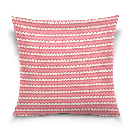 WellLee Soft Cotton Velvet Decorative Pillowcase,Pink Heart Stripe,Funny Square Throw Pillow Cushion Cover,Two Side Pillow Case for Sofa,Living Room 20x20 in