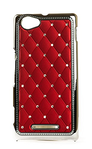 Videotronix Stone Studded Diamond Hard Back Case Cover for Sony Xperia M C1904 C1095 Red