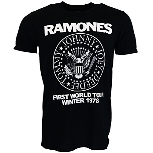 Ramones First World Tour 1978 T-shirt Black Official Licensed Music