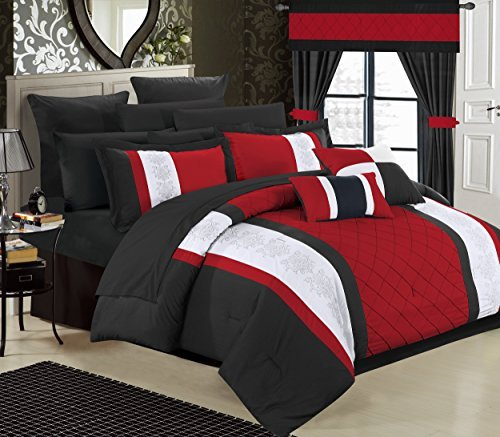 Chic Home 24 Piece Danielle Complete Pintuck Embroidery Color Block Bedding, Sheets, Window Panel Collection Bed in a Bag Comforter Set, King, Red by Chic Home -