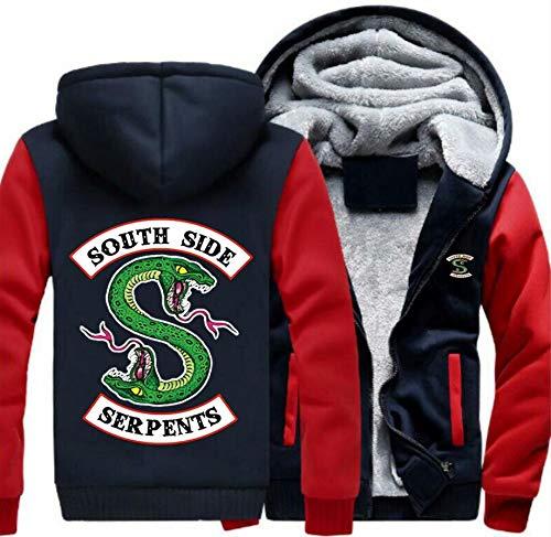 Erwachsene Winter Hoodie Jacke Herren South Side Serpent Plus Dicke Samt Reißverschluss Sweatshirt Mantel Cosplay Kostüm Kleidung (Rot-Ärmel, - Kleine Rote Plus Für Erwachsene Kostüm