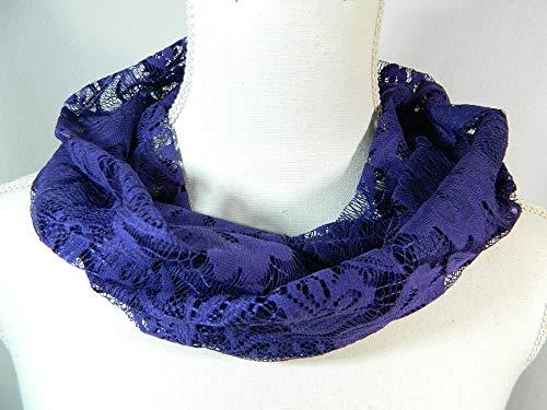 filigran edler Spitzen Schal Lila Violett Purple Gothic Halsschmeichler Übergangsschal Damenschal Formale Schal