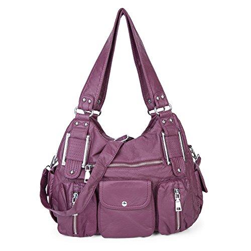 Leder Kreuz Körper gewaschen Soft Cross Körper Handtasche Große Kapazität Taschen für Frauen Damen Mädchen - Maulbeere (Große Jean)