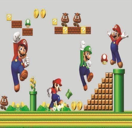 Super Mario Bros Jungen Kinderzimmer Wand Sticker Aufkleber (Super Bros Dekorationen Mario)