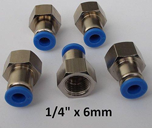 """5 Stück Steckverschraubung mit Innengewinde - Schnellsteckverbinder - Push In … (G 1/4"""" x 6mm)"""