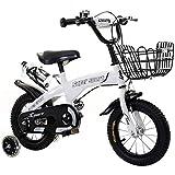 KY Vélo Enfants Vélos pour garçons, Fille de 16', 18', 21', 24' avec stabilisateurs, Bouteille d'Eau et Support. (Color : White, Size : 24inch)