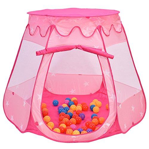 Kinderspielzelt Kinderzelt Bällebad Kinder Baby Prinzessin Spielzelt Spielhaus Babyzelt Zelt mit 100 Bälle Spielbälle Plastikbälle