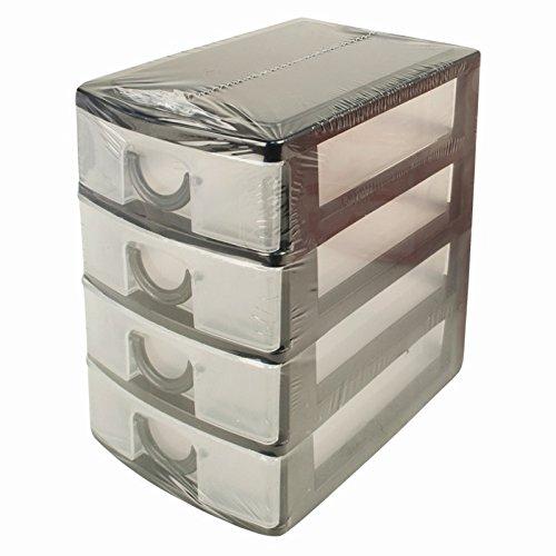 ITP 4Schublade Ziehen Mini Schreibtisch Stauraum Organizer Tabletts Tidy Schmuck Craft Box (Schwarz)