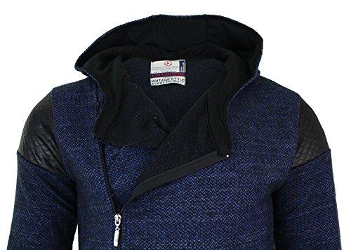 Gilet sweatshirt long homme fermeture diagonale veste à capuche coupe cintrée Bleu