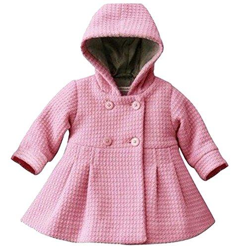 Free Fisher Baby Mädchen Mantel Warm Wintermantel Mit Kapuze, Rosa, Gr. 80(Herstellergröße: 80) -