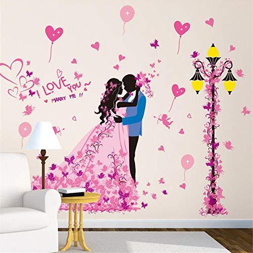 WANQT Adesivi e murali da parete Autoadesivi autoadesivi della parete della parete della parete di fondo della parete nozze sotto la lampada di via, 120 * 99cm