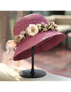 SituMi Señoras Verano sombrero para el sol Sombrero de Paja disquete puede ser plegado de ala ancha Playa Grande...
