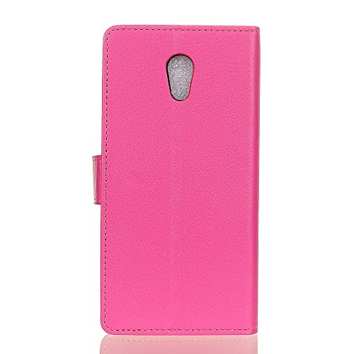 Klassische Litchi Texture PU Leder Schutzhülle Hülle Folio Flip Stand Case Cover mit Kartensteckplätzen für Lenovo Vibe P2 ( Color : Black ) Rose