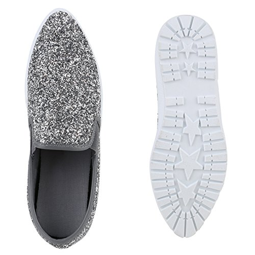 Damen Slip-ons Glitzer Plateau Slipper Metallic Trend Schuhe   Gr. 36-41   Aktuelle Kollektion Silber Avion