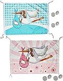 XL Dekofahne -  Storch - Baby rosa / zur Geburt  - z.B. für Fenster / Tür - Aussen & Innen - Türschild - Fensterfahne / Fahne - Mädchen - wasserfest - Klapperstorch Neugeboren Flagge / Babyparty - Wimpel Garten draußen - Babys
