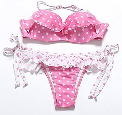 YONGYI Dividir el traje de baño preciosa rosa punto de onda sello con la Ofrenda de la Gavilla Mecida mullidas volantes Bikini