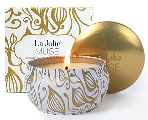 La jolie muse candele profumate vaniglia & cocco 100% cera di soia aromaterapia tin da viaggio 45 ore