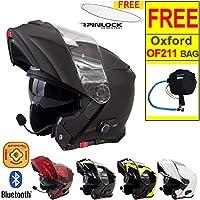 Viper RS-V171 Flip up Front Helmet BLUETOOTH Motorbike Helmet Matt Black L (59-60cm) + Free OF211 Oxford Motorbike Helmet Bag