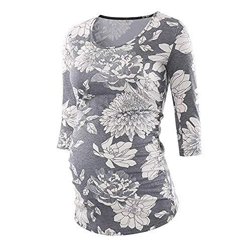 Topgrowth maglia premaman stampa floreale casual camicetta infermieristica maglietta manicotto 3/4 felpa vestiti di gravidanza