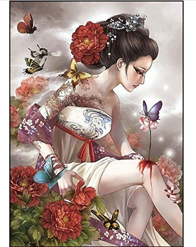 ZHAOHH Chinesischen Stil Diamant Stickerei 5d malerei alte kostüm Frau Schmetterling volle runde kristall mosaik Bild Diamant malerei, 70x90cm
