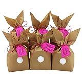 DIY Osterhasen zum selber Basteln und Befüllen - mit Pompons zum Aufkleben - Geschenk zu Ostern Osterhase - rosa - für Mädchen